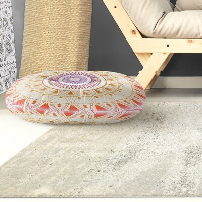 Kangana Round Indoor/Outdoor Floor Pillow Color: Orange/ Pink/ Tan, Size: 26 H x 26 W