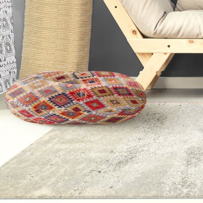 Loraine Circle Floor Pillow Color: Grey/ Red/ Yellow/ Gold/ Blue, Size: 8 H x 26 W x 26 D