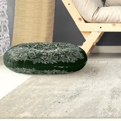Kangana Microfiber Floor Pillow Color: Green/ Ivory, Size: 23 H x 23 W