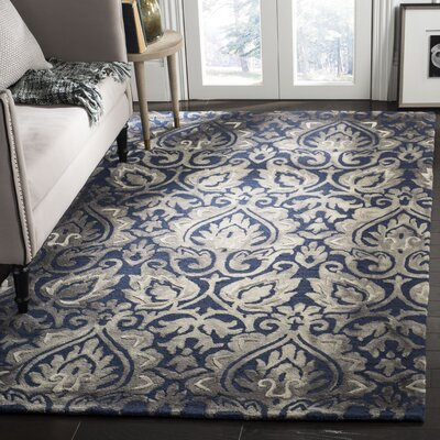 Brennan Hand-Tufted Wool Navy Area Rug Rug Size: Rectangle 5 x 8