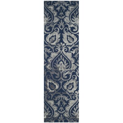 Brennan Hand-Tufted Wool Navy Area Rug Rug Size: Runner 23 x 8