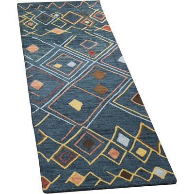 Talmo Hand Hooked Wool Dark Blue/Yellow Area Rug Rug Size: Runner 23 x 8