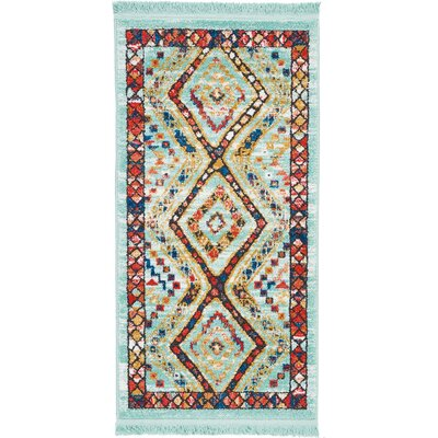 Carice Aqua/Red Area Rug Rug Size: Rectangle 22 x 43