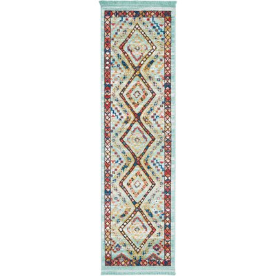 Carice Aqua/Red Area Rug Rug Size: Rectangle 22 x 79