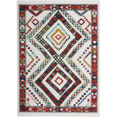 Carice White/Red Area Rug Rug Size: Rectangle 710 x 109