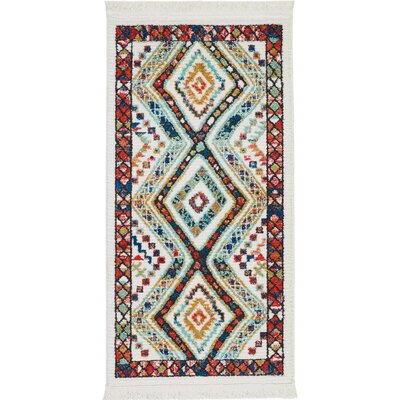 Carice White/Red Area Rug Rug Size: Rectangle 22 x 43