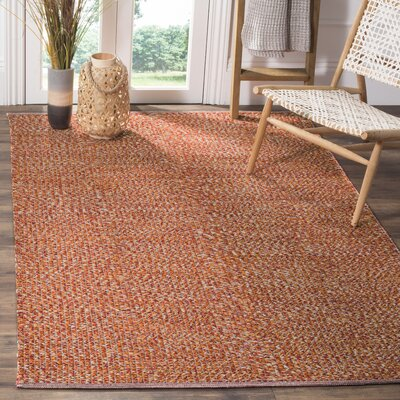 Figuig Hand-Woven Cotton Orange/Red Area Rug Rug Size: Square 6