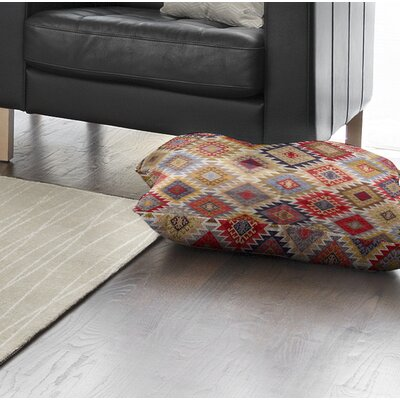 Loraine Square Floor Pillow Color: Grey/ Red/ Yellow/ Gold/ Blue, Size: 8 H x 23 W x 23 D