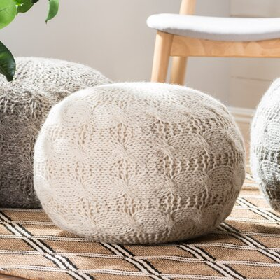 Karter Round Wool Pouf Ottoman Upholstery: Ivory
