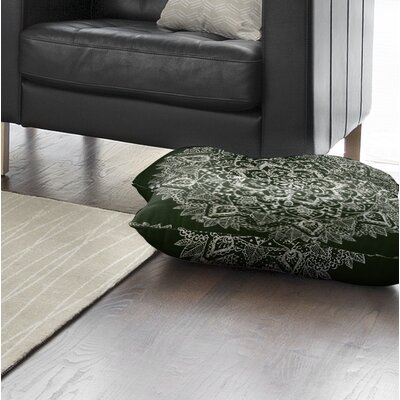 Kangana Double Sided Print Indoor/Outdoor Floor Pillow Color: Green/ Ivory, Size: 26 H x 26 W