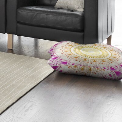 Kangana Square Floor Pillow Color: Purple/ Pink/ Ivory, Size: 23 H x 23 W