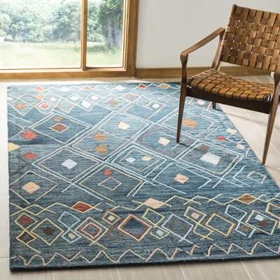 Talmo Hand Hooked Wool Dark Blue/Yellow Area Rug Rug Size: Rectangle 8 x 10