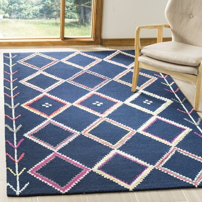 Juney Hand-Tufted Wool Navy Area Rug Rug Size: Rectangle 5 x 8