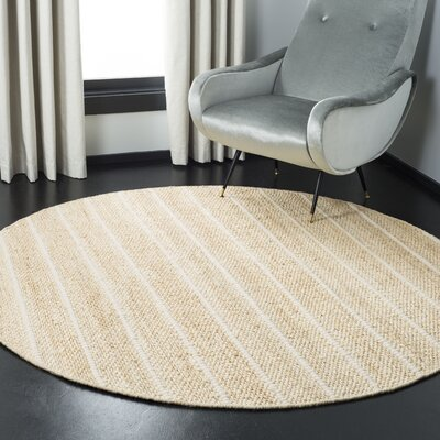 San Castle Natural Fiber Hand Woven Ivory Area Rug� Rug Size: Round 6