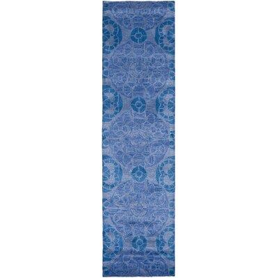 Kouerga Handmade Wool Blue Area Rug Rug Size: Runner 23 x 9