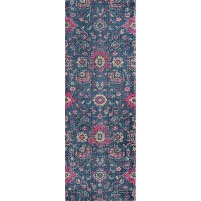 Thadine Denim Floral Area Rug Rug Size: Runner 27 x 76