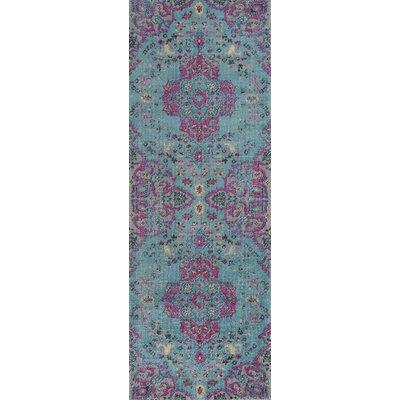 Thadine Blue Oriental Area Rug Rug Size: Runner 27 x 76