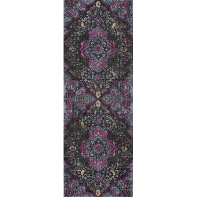 Thadine Charcoal Oriental Area Rug Rug Size: Runner 27 x 76