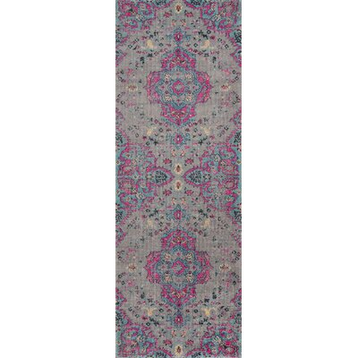 Thadine Gray Oriental Area Rug Rug Size: Runner 27 x 76