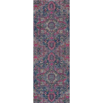 Thadine Denim Oriental Area Rug Rug Size: Runner 27 x 76