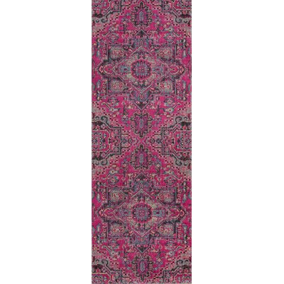 Thadine Pink Oriental Area Rug Rug Size: Runner 27 x 76