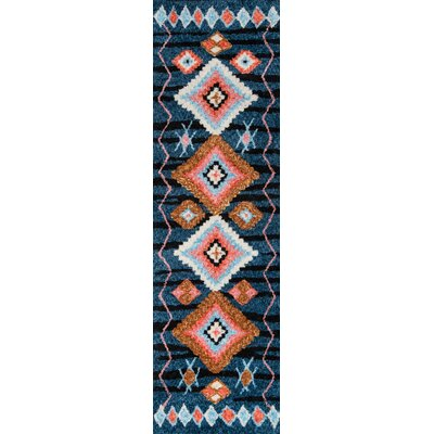 Valora Hand-Tufted Navy Area Rug Rug Size: Runner 23 x 8