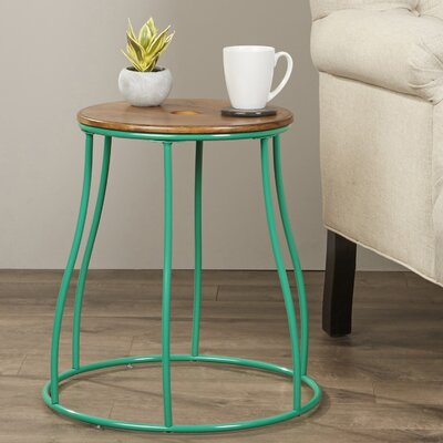 Almelo Round End Table Color: Green