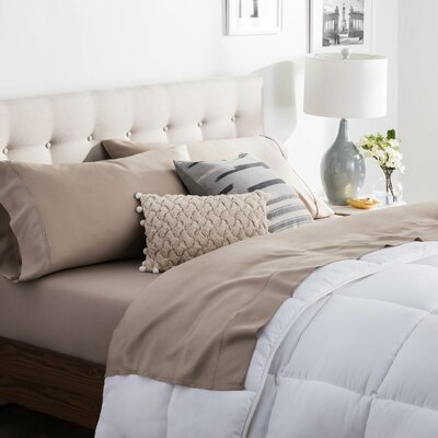 Niki Tencel Satin Sheet Set Size: Split Queen, Color: Sandstone