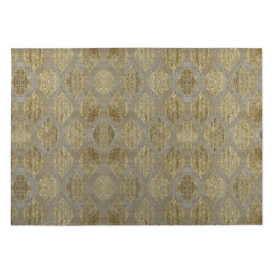 Elna Indoor/Outdoor Doormat Color: Taupe/ Gold