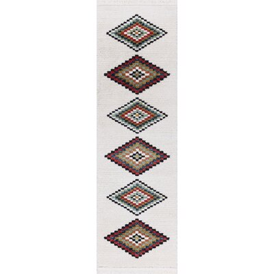 Rubie Hand-Woven White/Black Area Rug Rug Size: Rectangle 23 x 72