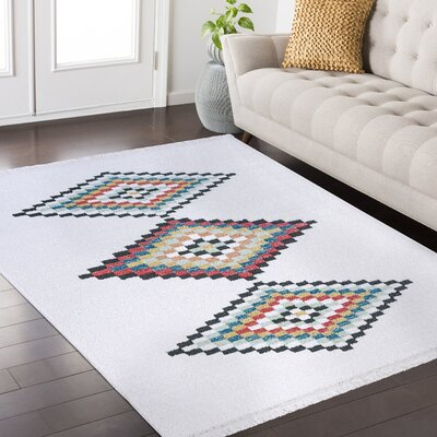 Rubie Hand-Woven White/Black Area Rug Rug Size: Rectangle 67 x 96