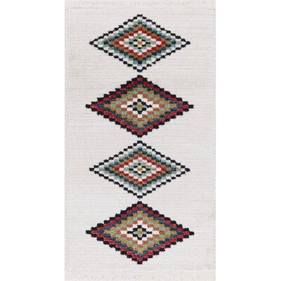 Rubie Hand-Woven White/Black Area Rug Rug Size: Rectangle 27 x 47