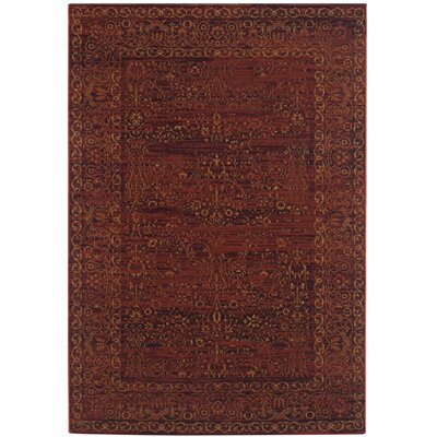 Zennia Ruby / Gold Area Rug Rug Size: Rectangle 51 x 76