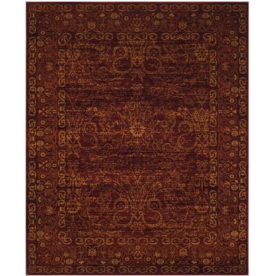 Zennia Ruby / Gold Area Rug Rug Size: Rectangle 8 x 10