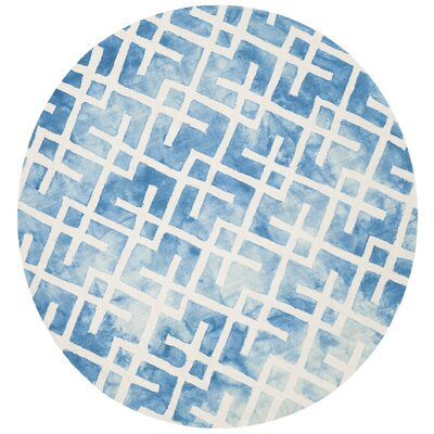 Castries Hand-Tufted Blue/Ivory Area Rug Rug Size: Round 7 x 7