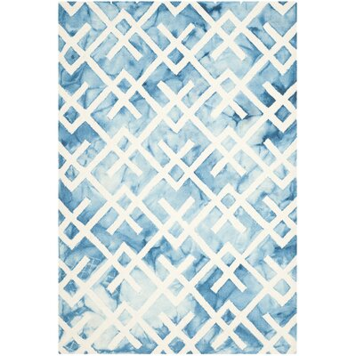Castries Hand-Tufted Blue/Ivory Area Rug Rug Size: Rectangle 5 x 8