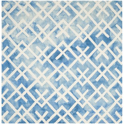 Castries Hand-Tufted Blue/Ivory Area Rug Rug Size: Square 7 x 7