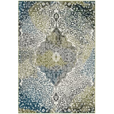 Nakano Beige/Blue Area Rug Rug Size: Rectangle 53 x 76