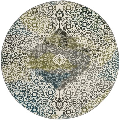 Nakano Beige/Blue Area Rug Rug Size: Round 67