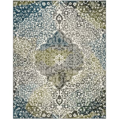 Nakano Beige/Blue Area Rug Rug Size: Rectangle 8 x 10