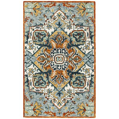 Chancellor Hand-Tufted Wool Blue/Rust Area Rug Rug Size: Rectangle 2' x 3'
