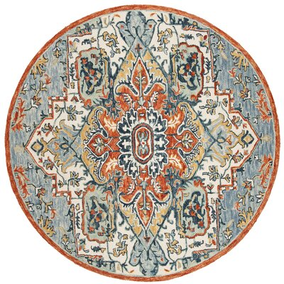 Chancellor Hand-Tufted Wool Blue/Rust Area Rug Rug Size: Round 7