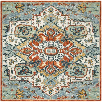 Chancellor Hand-Tufted Wool Blue/Rust Area Rug Rug Size: Square 7'