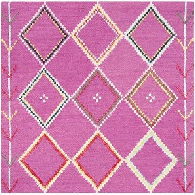 Carolwood Hand Tufted Wool Fuchsia Area Rug Rug Size: Square 5