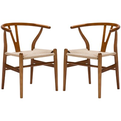 Khalil Solid Wood Dining Chair (Set of 2) Finish: Walnut