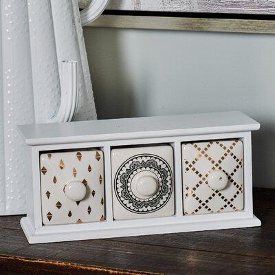 Modern 3-Drawer Wood and Porcelain Jewellery Box BGRS2963 43154752