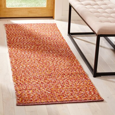 Figuig Hand-Woven Cotton Orange/Red Area Rug Rug Size: Runner 23 x 7