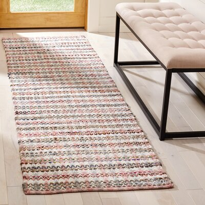 Bester Hand-Woven Cotton Pink/White Area Rug Rug Size: Runner 23 x 8