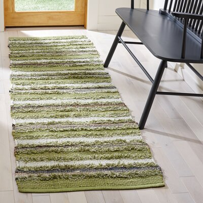 Bester Hand-Woven Cotton Green Area Rug Rug Size: Runner 23 x 8