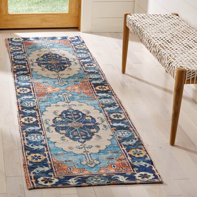 Amanda Hand-Loomed Blue/Coral Area Rug Rug Size: Runner 23 x 8